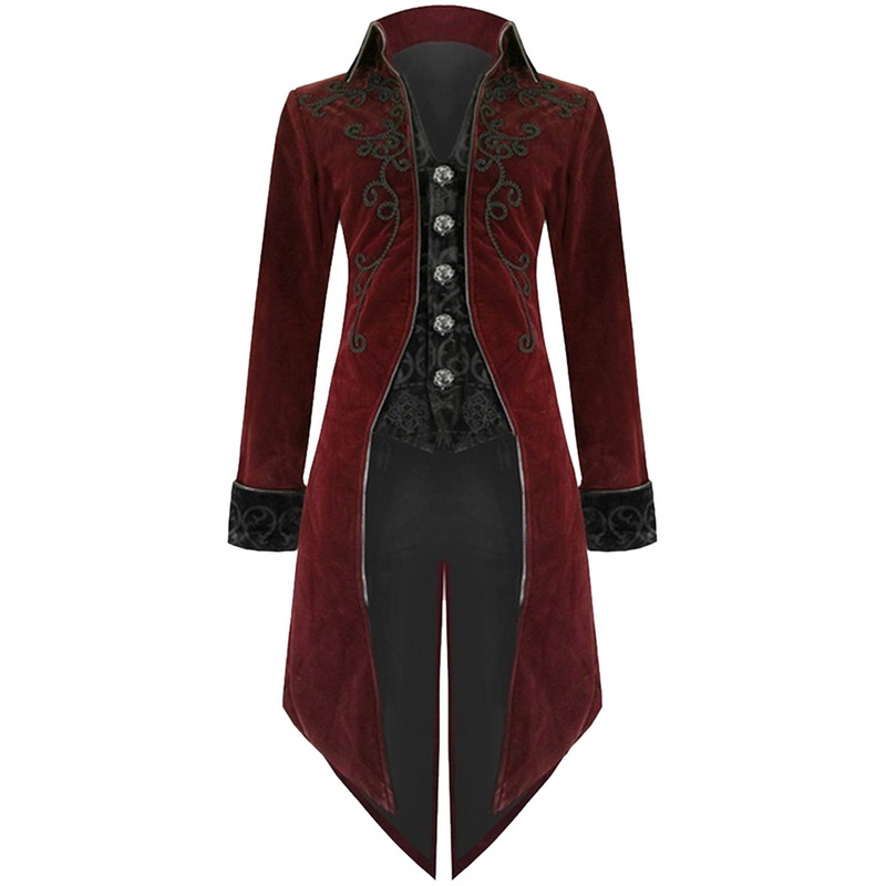 SHUJIN 2019 Men Vintage Gothic Long Jacket Autumn Retro Uniform Costume Trench Coat
