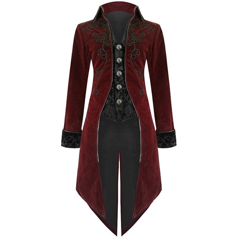 SHUJIN 2019 hommes Vintage gothique longue veste automne rétro Cool uniforme Costume Trench manteau Steampunk manteau bouton manteau mâle
