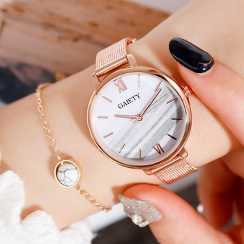 Gaiety Luxury 2 PCS Set Watch Women Rose Gold Water Drill Bracelet Watch Jewelry Ladies Female Hour Casual Quartz Wristwatches 8