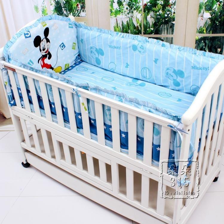 Promotion! 6PCS Cartoon Baby bedding sets bumper,100% cotton cartoon crib baby bumper  ,include(bumpers+sheet+pillow cover)