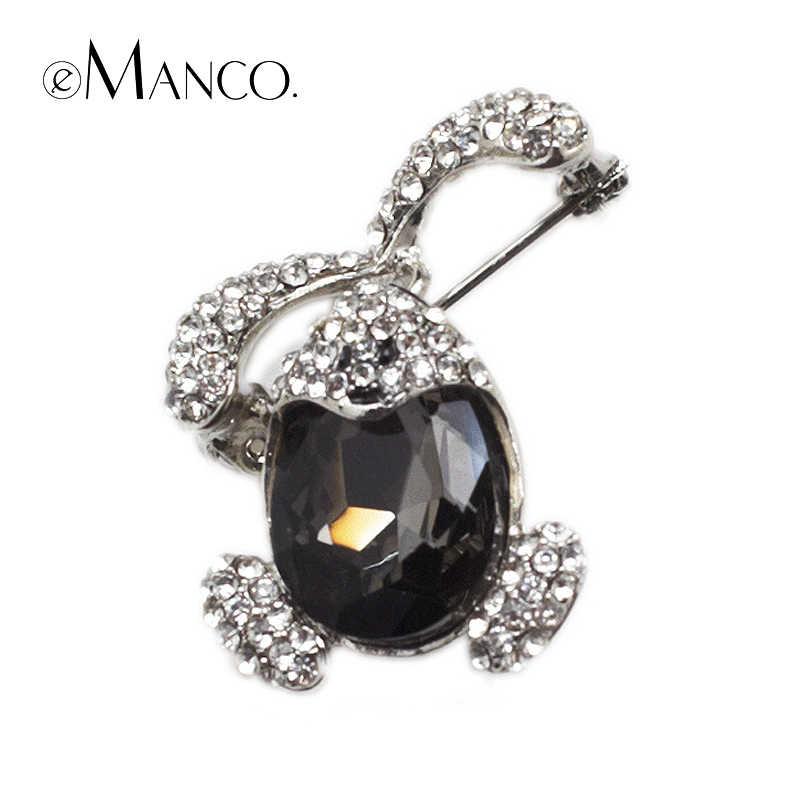 luxury Large black crystal Big rabbit brooches eManco 2015 New High Quality Fashion bijoux Creative gift  BR02777