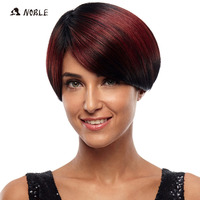 Noble Short Wigs High Temperature Silver No Lace Wigs 8 Inch Red Synthetic Wigs For Black