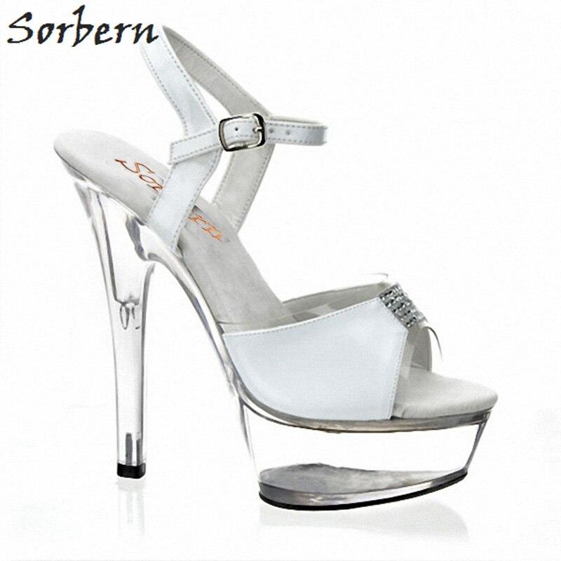 Rhimestone Talons Plate blanc forme À Partie Mode Sorbern Sandalias Chaussures Pour Ouvert custom Noir Sangle De Bout 11 Clair Color Taille Cheville Femmes Sandales ZF4dxqw