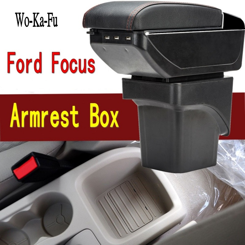 For Ford Focus 2 armrest box central Store content Storage box Ford focus armrest box with cup holder ashtray USB interface free punch multifunction armrest box with usb for santanapoussin new car armrest wooden central box for any cars