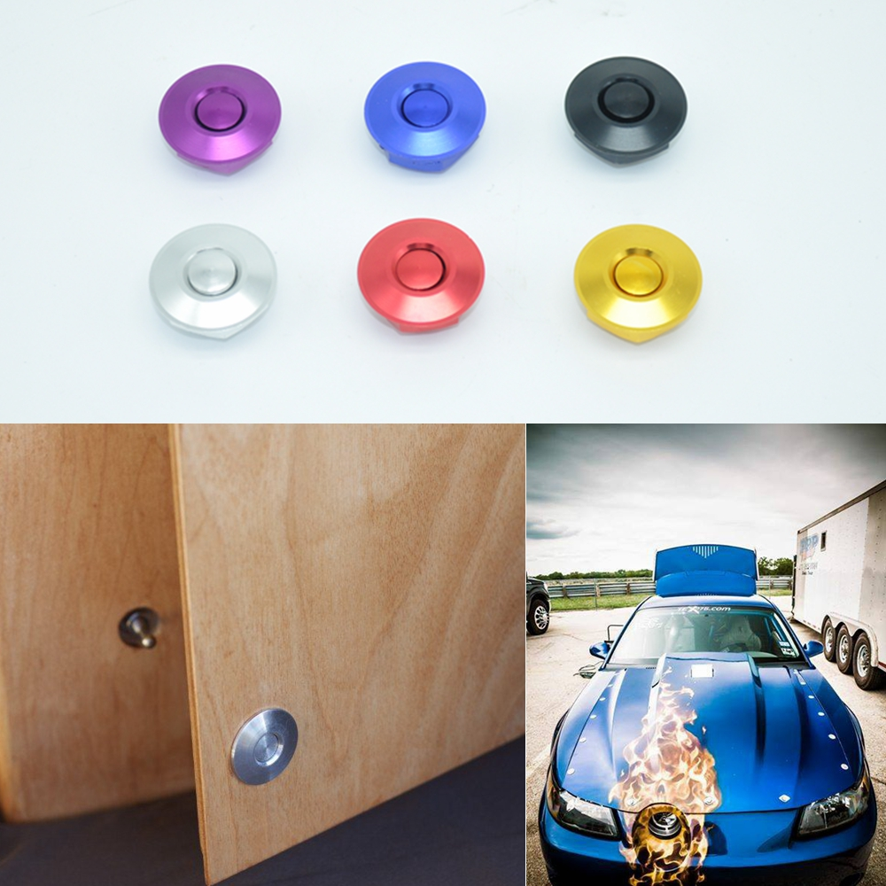 JK Cabinet door lock Universal Aluminum Quik Latch Mini Latch Push Button Fastener Mini Hood Lock