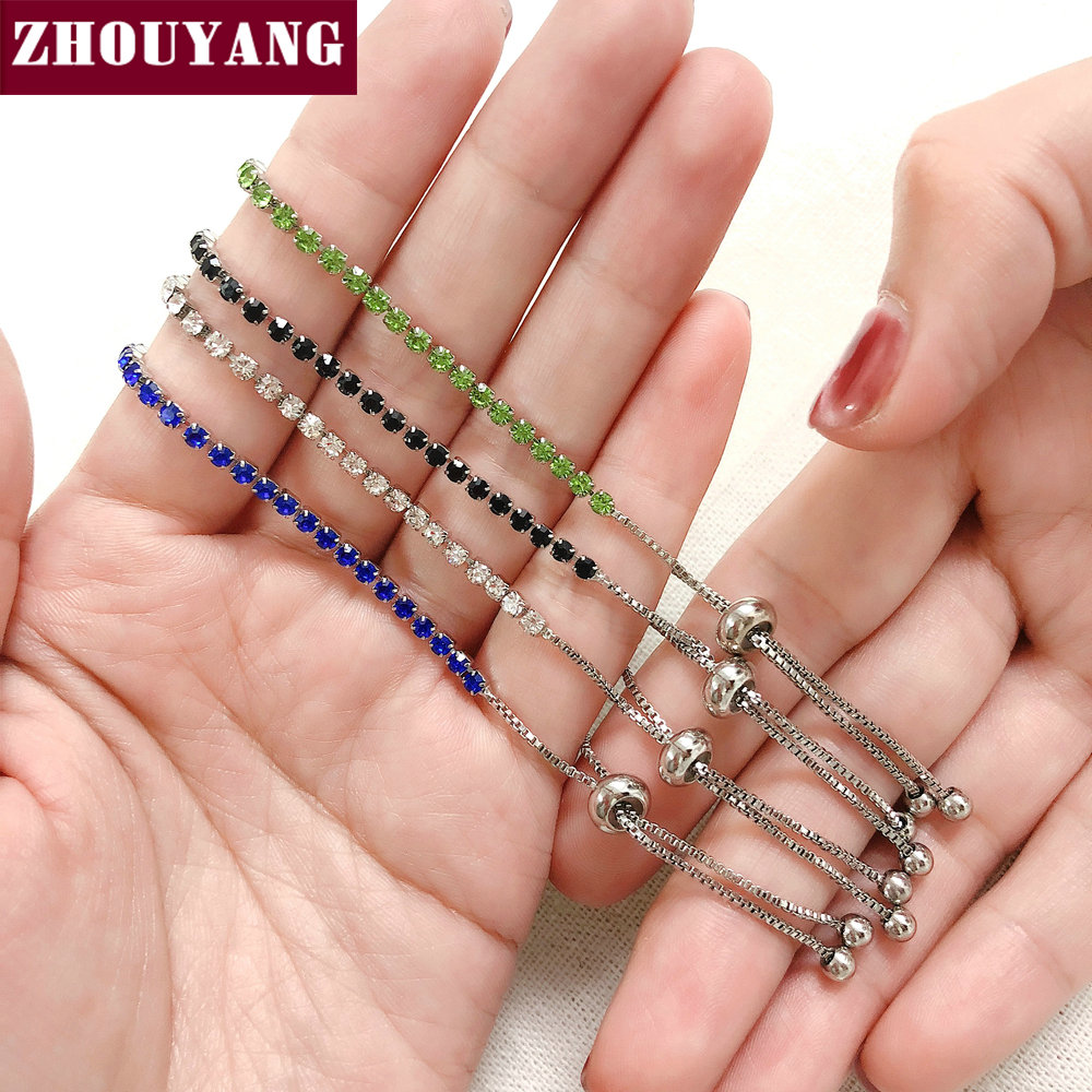 ZHOUYANG Bracelet For Women Luxury Style 4 Color 4 Claws Mosaic Cubic Zirconia Silver Color Fashion