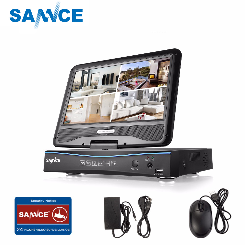 SANNCE 720P HD 10.1 LCD Monitor Video Monitoring with 1080N 4CH DVR NVR HVR 5in1 Network CCTV Security System