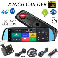 Kroak Dual Lens 8 HD 1080P 4G Car DVR Camera Android 5 1 Rearview Mirror Touch