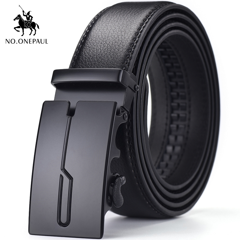 NO.ONEPAUL Men's Belt Automatic Ratchet Buckle With Cow Genuine Men Luxury Brand Male Strap 100-130cm Length Leather Belts For