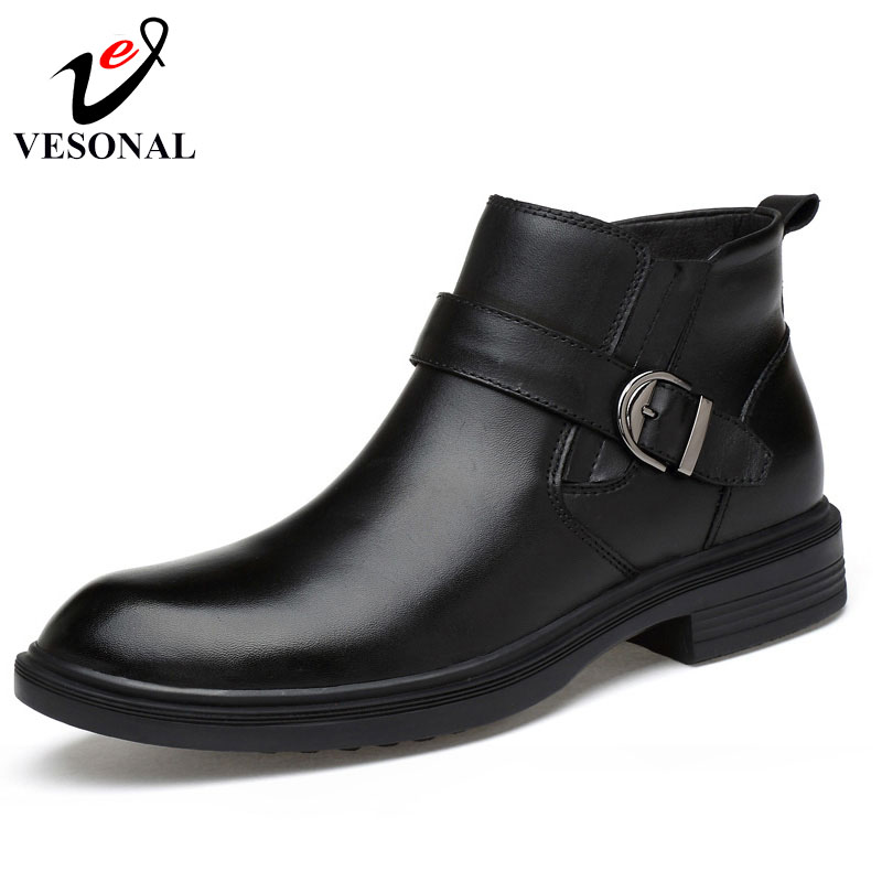 VESONAL 2017 Autumn Winter Warm Fur Ankle Chelsea Boots Men Shoes Male Business Casual Genuine Leather