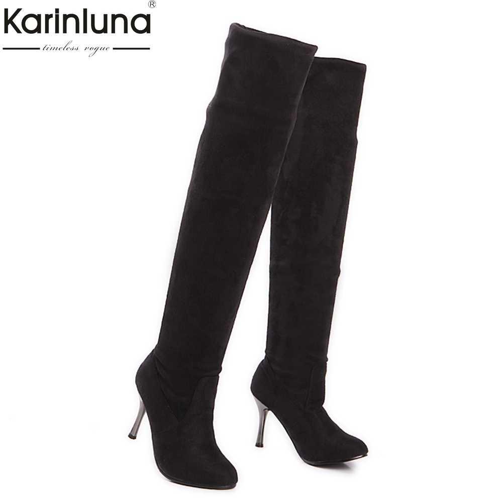 Karinluna/2018 г. обувь больших размеров 34-43, женские сапоги выше колена, пикантные модные вечерние на тонком высоком каблуке