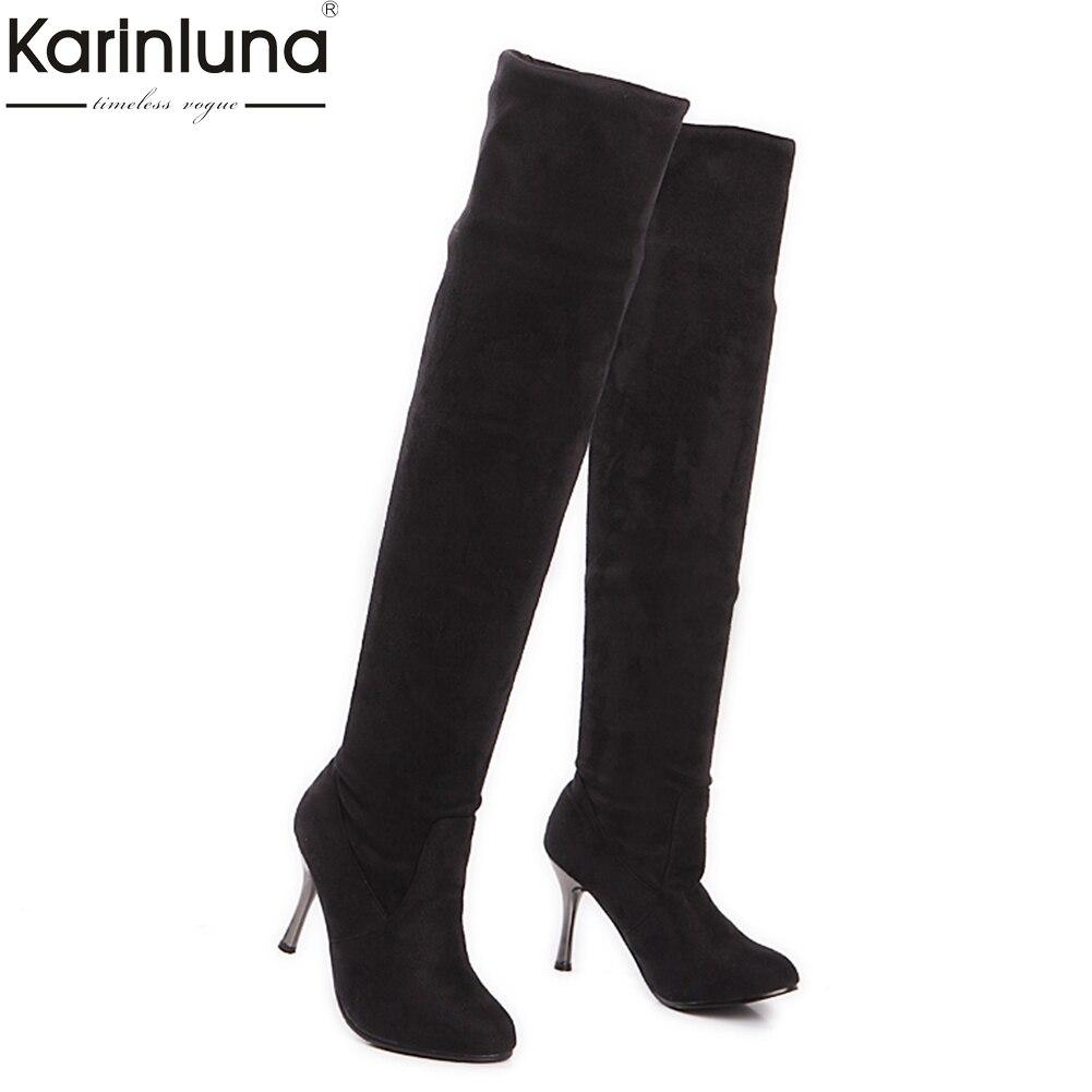 badcc1e69 Comprar Karinluna 2018 Tamanhos Grandes 34 43 sapatos Mulheres Botas Acima  do Joelho Botas De Cano Alto Sexy fina de salto alto Moda festa senhora  Sapatos ...