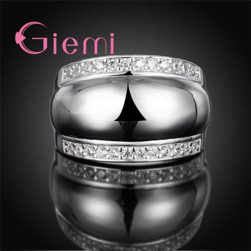 Legal heavy metal bandas largas anéis para mulheres masculinas original 925 prata esterlina com brilhante claro aaa zircão cristal pavimentado jóias