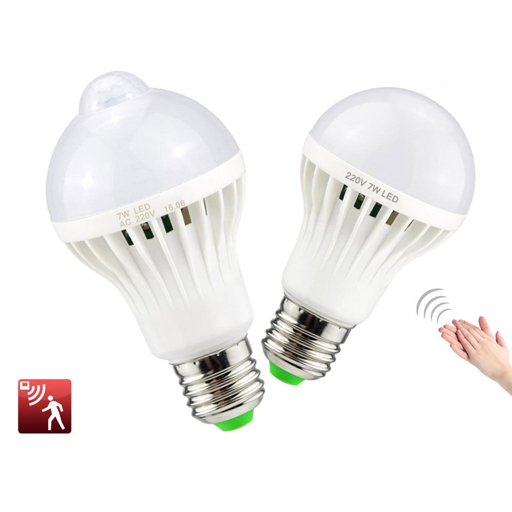 New Night Light E27 220v Sensor Led Lamp Bulb Pir Infrared Motion Sound Light Sensor Control Auto Body Detection Smd 5730