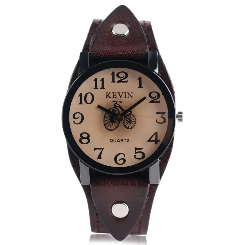 KEVIN Round Dial Punk Bicycle Wrist Watch Dark Brown Leather Band Simple Strap Men Women Special Design Quartz Casual Trendy sport elite se 2450