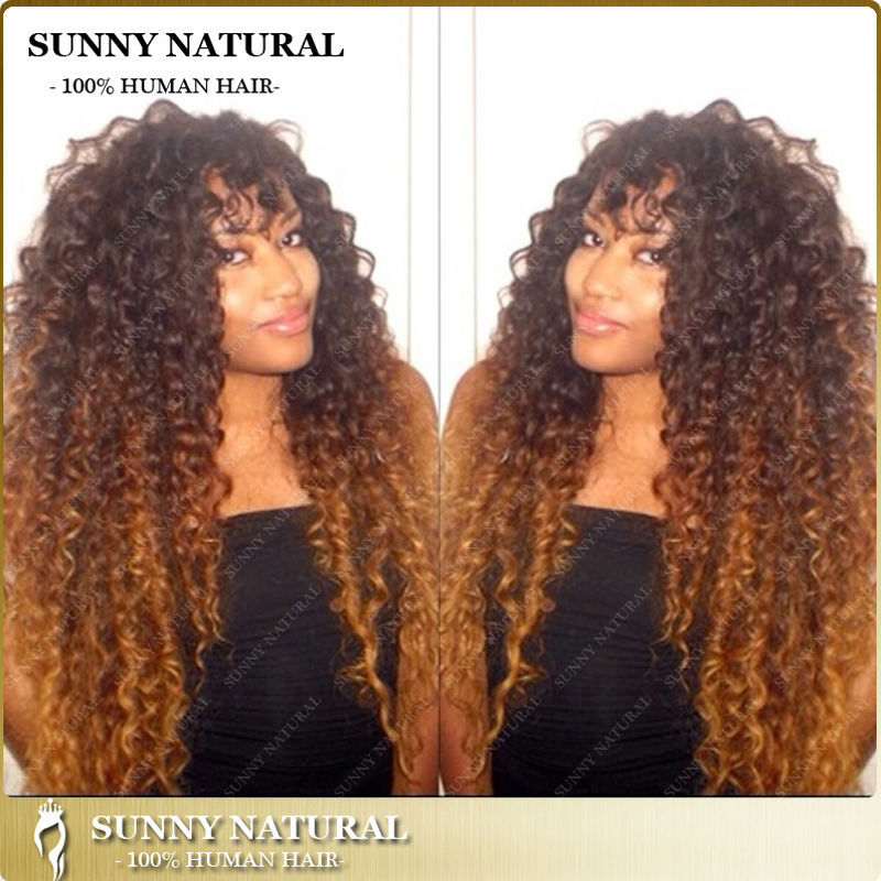 two tone afro kinky curly full lace wigs for black women 150 density  peruvian kinky curl virgin hair wigs ombre 9ab997e27b