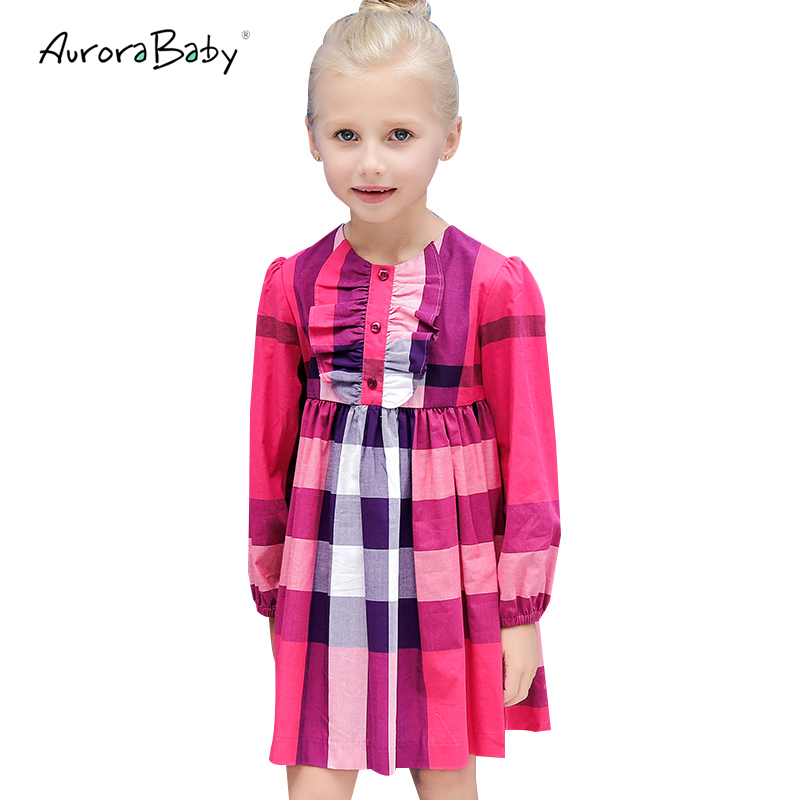 Plaid Girls Dress Long Sleeve Kids Dresses for Girls Toddler Cotton Princess Children Clothing 3-10 Yrs 2018 Summer New Arrive 2017 new summer toddler kids girls sleeveless t shirt dress children girls elegant lace dresses light blue dress for 3 7y