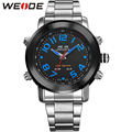 2016 Luxury Brand WEIDE Mens Casual Watch Metal Gift Box Blue Color Analog LED Digital Stainless Steel Waterproof Quartz Watches