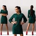 Moda casual bodycon mulheres vestidos sólidos vestido de trabalho das mulheres de Três Quartos o-pescoço Na Altura Do Joelho feminino Lápis bodycon vestido Vestidos
