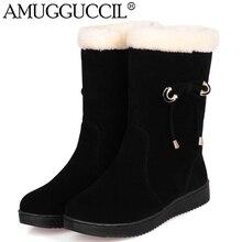 2016 neue Ankunft Größe 32-40 Schwarz Rot Aprikose Bowtie Mode beiläufige Süße Warme Wohnungen Mädchen Winter Frauen Schnee Stiefel X1416