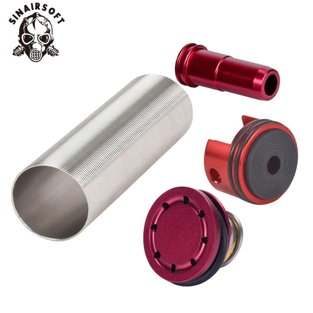 все цены на SINAIRSOFT Alumnium CNC Cylinder Head /piston Head / Nozzle /Cylinder Set Flat For Airsoft M4 M16 KAC PDW AEG Paintball Shooting онлайн