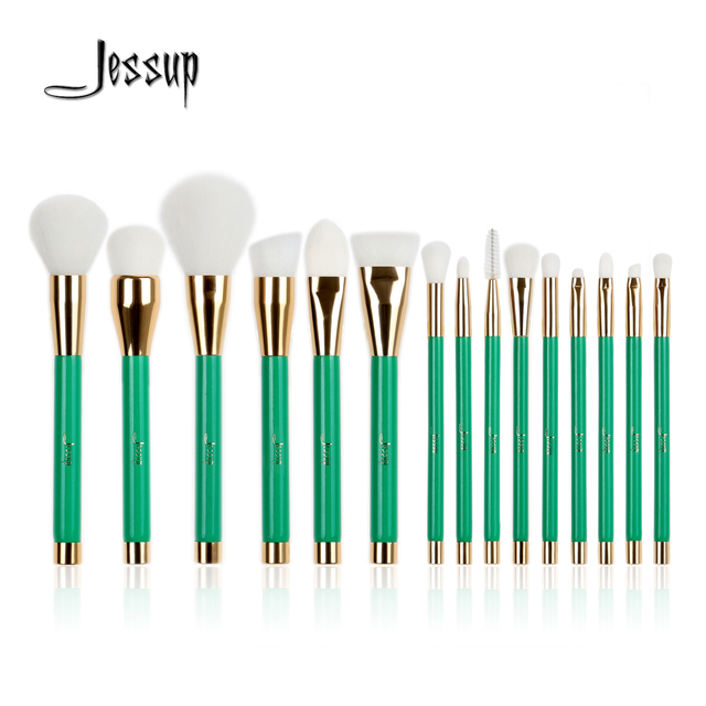 New Jessup 15Pcs Pro Make up Brushes Set Foundation Blusher Powder Eyeshadow Blending Eyebrow Makeup Brushes Green/White beauty