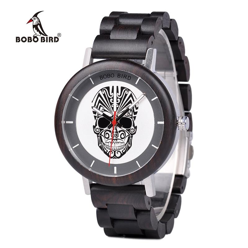 BOBO BIRD Luxury Brand Wooden Watch Men Skull Face Timepiece with Gift Box Relogio Masculino J Q12|Quartz Watches| |  - title=