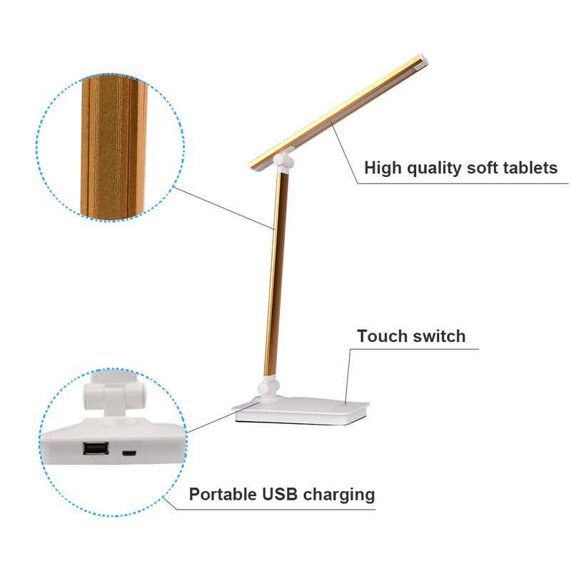 LED Desk Lamp Eye-caring Table Lamps Dimmable Office Lamp with USB Charging Port 3 Brightness Levels Touch Control White 5W(4)