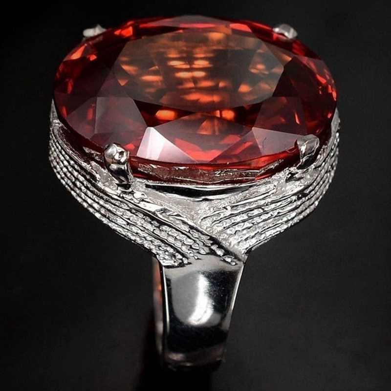 מכירה לוהטת טרנדי גדול ביצה בצורת טבעת פתיחת שרוול יד אדום צבע טבעות אצבע תכשיטי טבעת