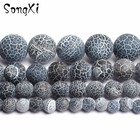 Wholesale Grey Dull Polish Frosted Agat Round Loose Beads For Jewelry Making 15'' Strand 6 8 10 12MM Fit DIY Necklace Bracelet