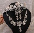 2015 Moda Nupcial Conjuntos de Joyas Collar Pendiente de La Boda Para Las Novias de Cristal Corona de La Tiara Del Partido Accesorios