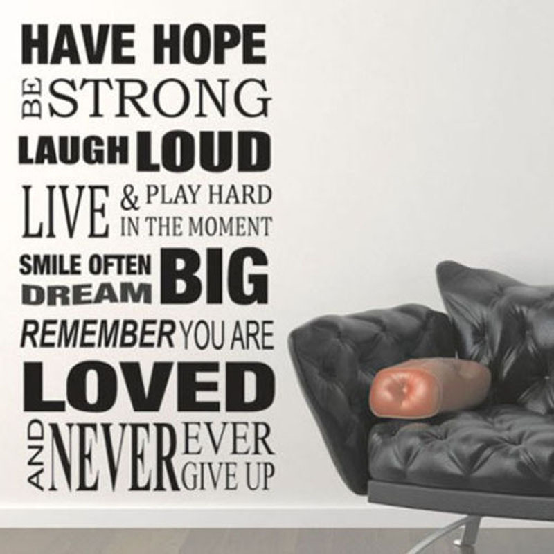 HAVE HOPE be strong NEVER GIVE UP - Art Vinyl Inspirational Home Words Quote Lettering Saying Wall Sticker Decal 059
