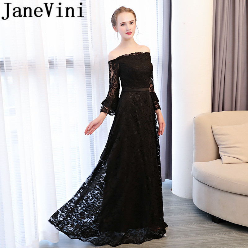 JaneVini Vintage Lace A Line Black Long   Bridesmaid     Dresses   With Sleeve Boat Neck Backless Floor Length Women Wedding Party   Dress