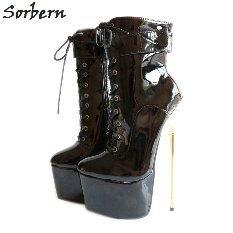 Sorbern New 2018 Sexy Women Shoes 22CM High Gold Thin Heels +6CM Platform Party Dance Ankle Boots Plus Size 46 Ankle Boots
