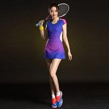 Платье для бадминтона, женское быстросохнущее платье с коротким рукавом для тенниса, спортивное женское платье, женская одежда для бадминтона