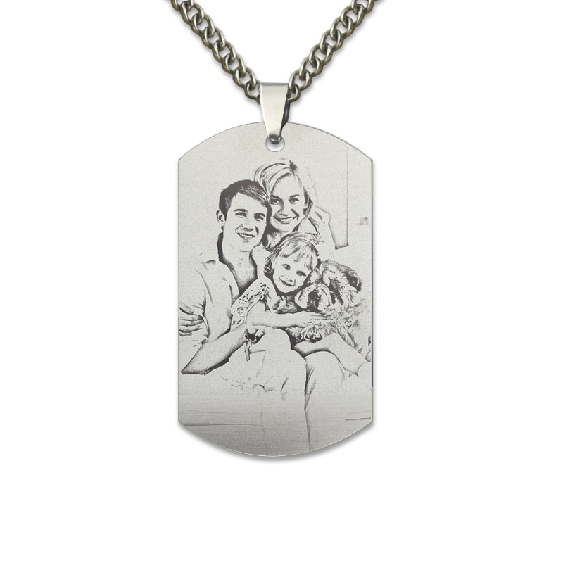 Dog Tag Photo Necklace Titanium Steel Picture Necklace Engrave Dog Tag Necklace Photo Gifts for Dad vnox personalized id necklace pendant stainless steel silicone dog tag jewelry provide engrave record servise