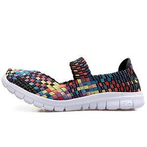 Image 3 - STQ zapatos planos tejidos para mujer, chanclas planas, multicolor, para verano, 2020