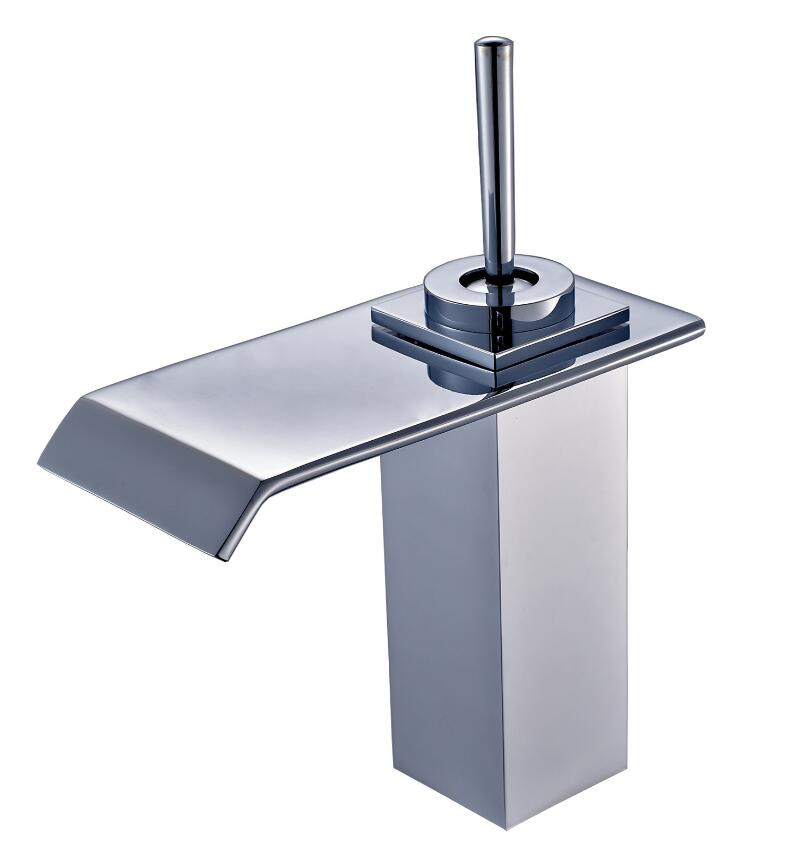 brass material chrome plating modern design square bathroom sink waterfall faucet tap mixer free shipping polished chrome solid brass material bathroom sink waterfall square faucet