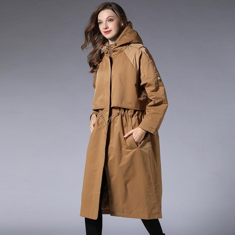 Femmes Coton khaki Trench Tranchée Manteaux Élastique Taille Manteau La Noir Outwear Femelle Ressort Élégant À 2019 Black Paded Pardessus Plus Capuchon rrRqWxTwd