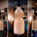 Fashion Gold Cocktail Dresses Sexy Sheer Halter Beaded Sequins Rhinestone Short Prom Dress 2016 Sheath Party Gown Club Wear