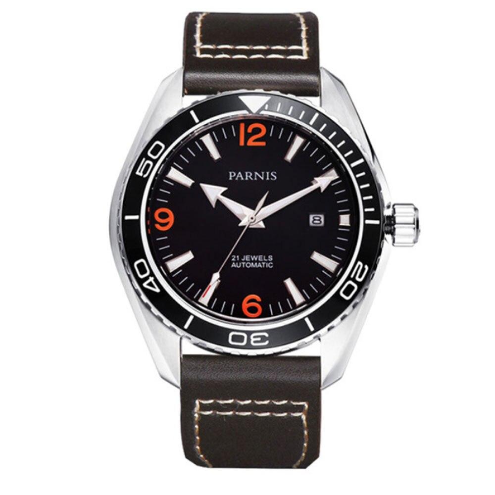 Reloj para hombre con movimiento automático miyota marca de lujo de cristal de zafiro con esfera negra Parnis de 45mm-in Relojes mecánicos from Relojes de pulsera    1