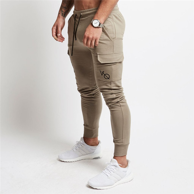 2018 men's new fitness leisure fashion spring and autumn pockets with trousers