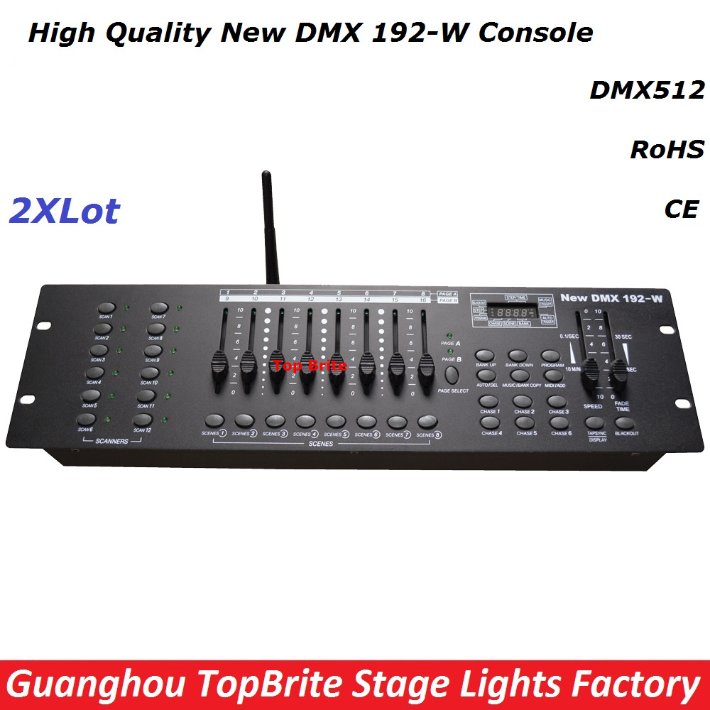 2Pcs/Lot New 192-W DMX Console , 2.4G Wireless DMX Controller , For Stage Lighting DMX512 Console DJ Disco Controller Equipments lightme professional stage dj dmx stage light 192 channels dmx512 controller console dj light for disco ktv home party night