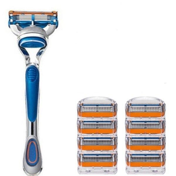8pcs Razor Blade 1pcs Holder Men 39 s Shaver Razor Blades 5 Layer Razor Blades Compatible with Gillette Fusione Razor Blade in Razor from Beauty amp Health
