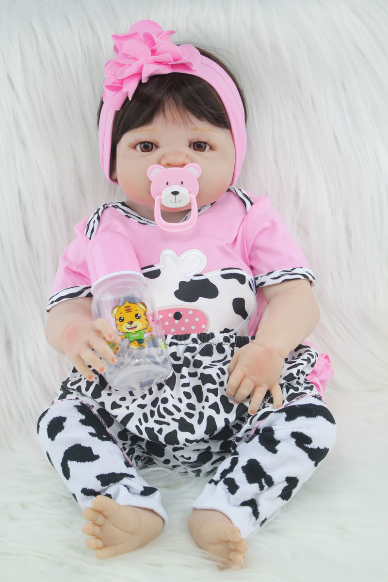 55cm Full Body Silicone Reborn Girl Baby Doll Toy Lifelike Newborn Princess Babies Doll Fashion Kids Child Brinquedos Bathe Toy lifelike american 18 inches girl doll prices toy for children vinyl princess doll toys girl newest design