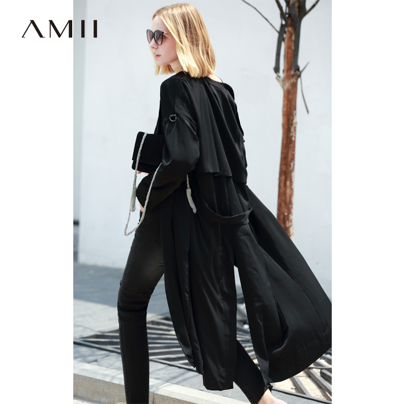 Amii Women Office Lady 2019 Autumn   Trench   Coat Workout OL Straight Waist Belt Thin Female   Trench   Coats