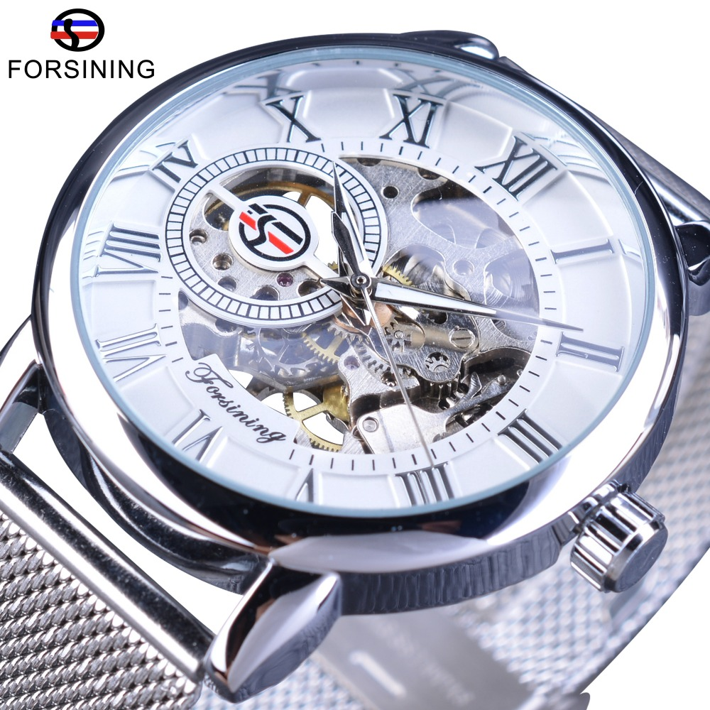Forsining Mechanical Wristwatch for Men Silver Stainless Steel Band Fashion Retro Skeleton Clock Hook Buckle Mens Watches Forsining Mechanical Wristwatch for Men Silver Stainless Steel Band Fashion Retro Skeleton Clock Hook Buckle Mens Watches
