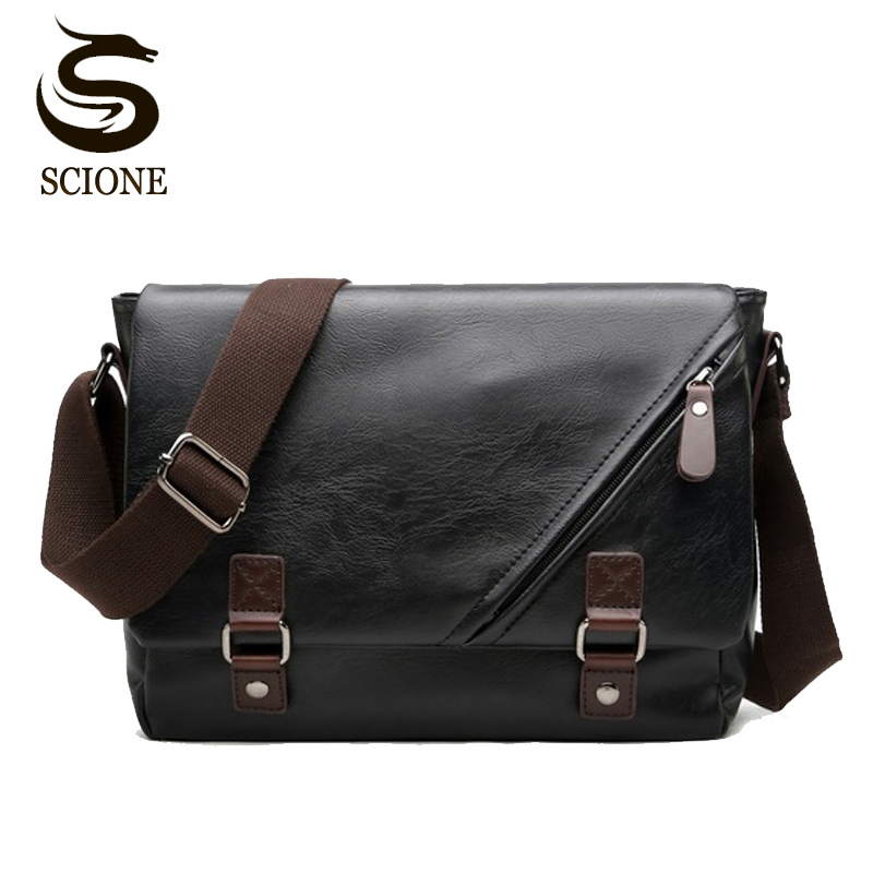 2018 PU Leather Male Shoulder Bag Black Messenger Bags Business Man Fashion Handbag Clutch Mens Luxury Style Cross Body Bags