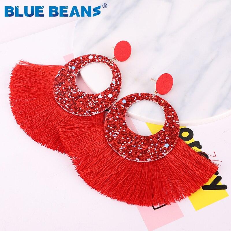 Tassel Earrings Shining Fashion For Women Boho Water Drop Earring Handmade Big Drop Dangle Round Jewelry Party gift statement 15