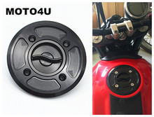 MOTO4U Motorcycle Fast Fuel Gas Cap Tank Cap Cover CNC Billet For DUCATI Scrambler Black
